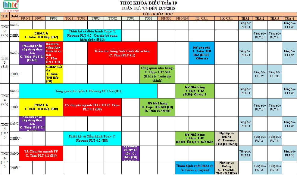 Thời khóa biểu tuần 19 (Từ 07-12/05/2018) TKB tuần 19