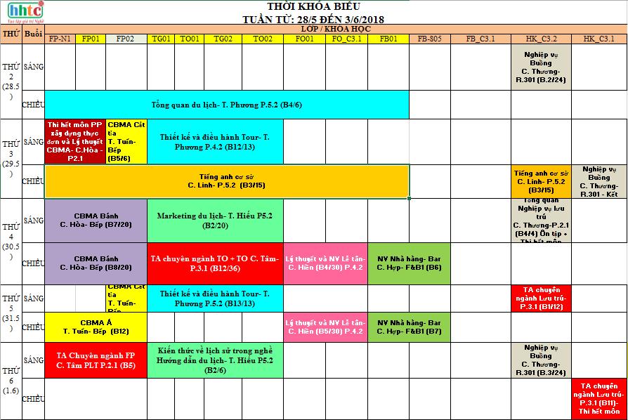 Thời khóa biểu Tuần 22 (Từ 28/3 đến 3/6) TKB tuần 22 1