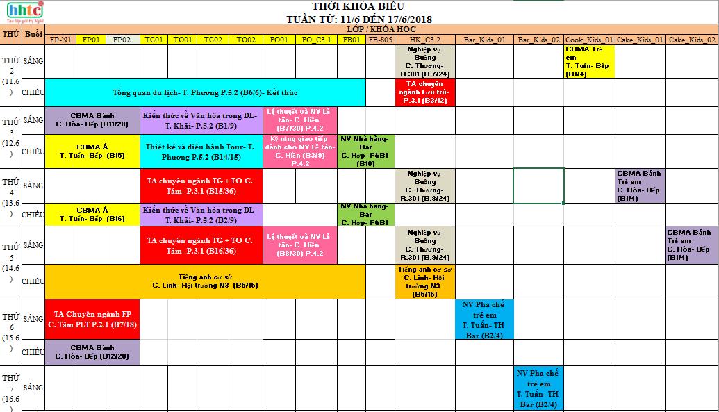 THỜI KHÓA BIỂU TUẦN 24 (TỪ 11/6 ĐẾN 17/6/2018) T24 1