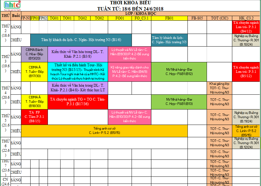 Thời khóa biểu Tuần 25 (Từ 18/6-24/6/2018) T25