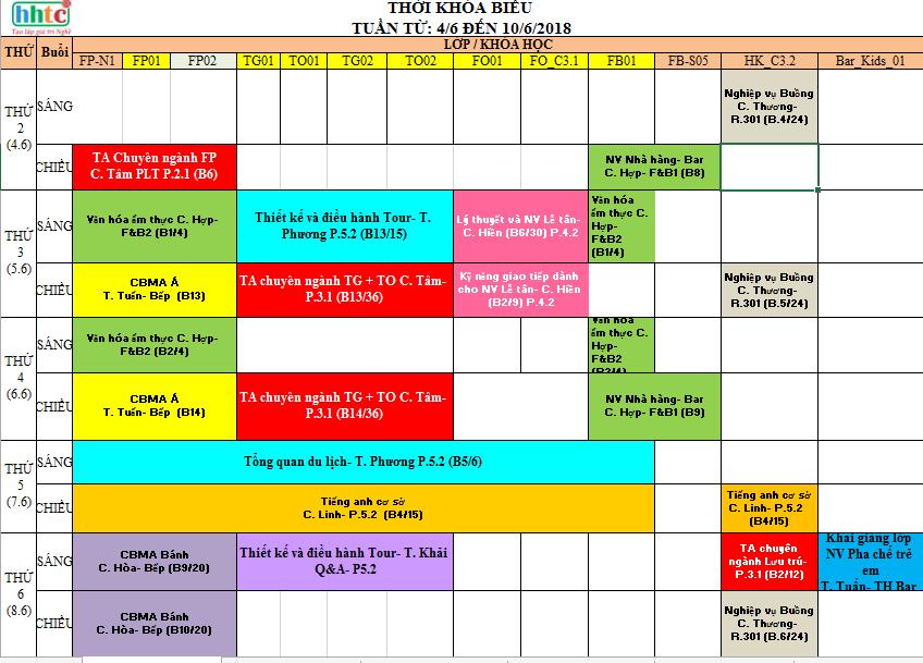 Thời khóa biểu Tuần 23 ( từ  4/6 đến 10/6/2018) tkb 23 1