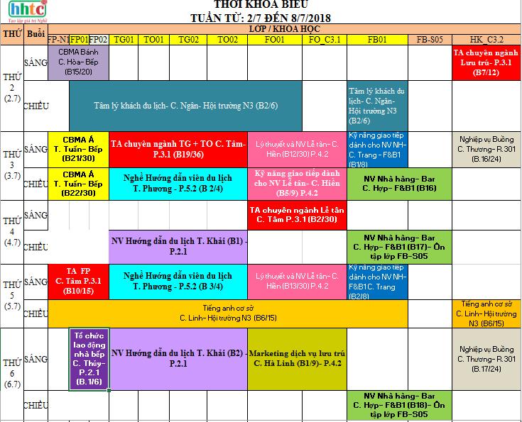 THỜI KHÓA BIỂU TUẦN 27 TỪ: 2/7 ĐẾN 8/7/2018 tkb t27