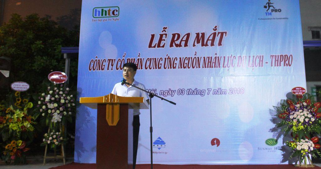 Lễ ra mắt Công ty Cung ứng nguồn nhân lực Du lịch chất lượng cao (THPRO) CT HĐQT Truong Tuong Lan phat bieu