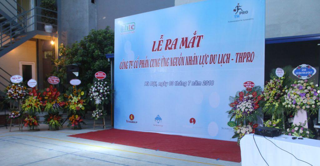 Lễ ra mắt Công ty Cung ứng nguồn nhân lực Du lịch chất lượng cao (THPRO) backdrop lễ ra mắt