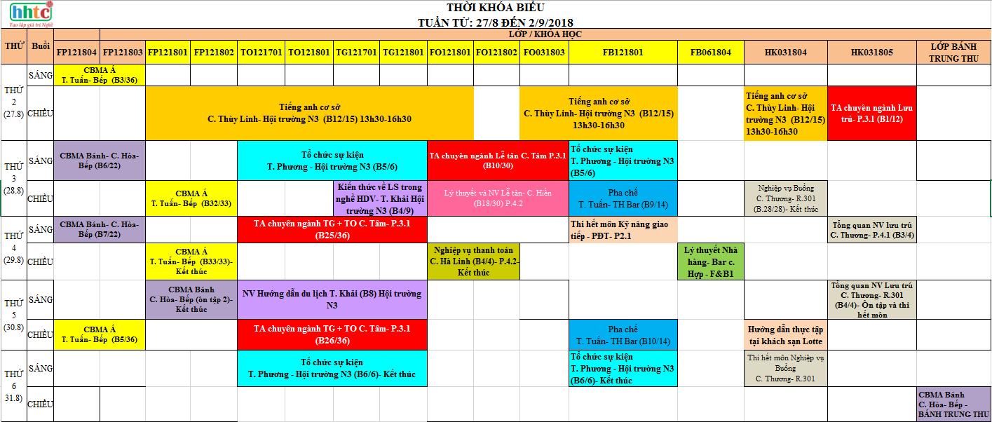 Thời khóa biểu tuần 35 từ 27/08/2018 đến 2/9/2018 35