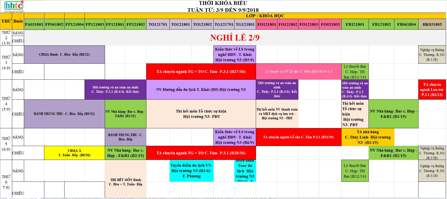 TKB Tuần 36 (Từ 3/9 - 9/9) 36