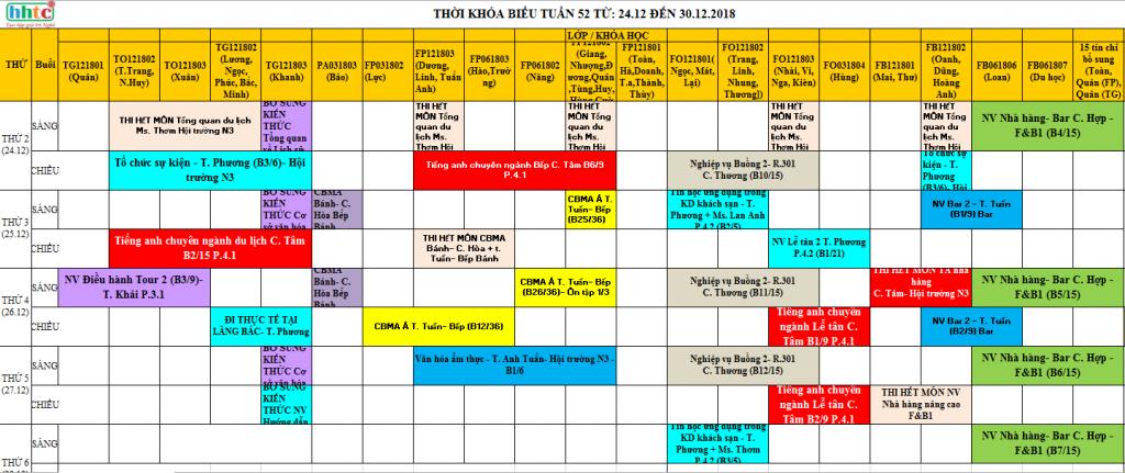 TKB Tuần 52 TỪ: 24.12 ĐẾN 30.12.2018 full Tuần 52